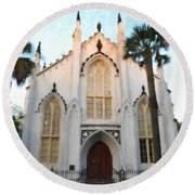 Downtown Charleston Church Round Beach Towel