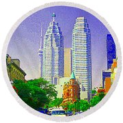 Downtown Core Flatiron Building And Cn Tower Toronto City Scenes Paintings Canadian Art Cspandau Round Beach Towel