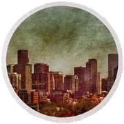 Downtown Denver Antiqued Postcard Round Beach Towel