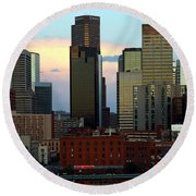 Downtown Denver At Dusk Round Beach Towel