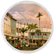 Downtown Hilo Sunday Morning Round Beach Towel