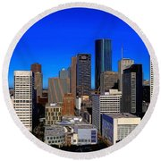 Downtown Houston Painted Round Beach Towel