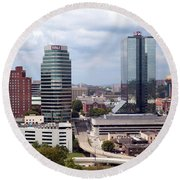 Downtown Knoxville Tennessee Skyline Round Beach Towel