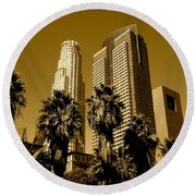 Downtown Los Angeles Round Beach Towel