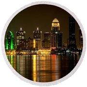 Downtown Louisville Kentucky Skyline Night Shot Round Beach Towel