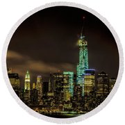 Downtown Manhattan At Night Round Beach Towel