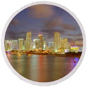 Downtown Miami And Aaa Round Beach Towel