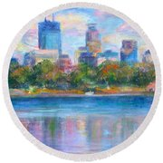 Downtown Minneapolis Skyline From Lake Calhoun Round Beach Towel by Quin Sweetman