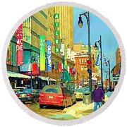 Downtown Montreal Eatons Centre Complex Les Ailes Old Navy Rue Mcgill College City Scenes  C Spandau Round Beach Towel