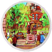 Downtown Montreal Mcgill University Streetscenes Round Beach Towel