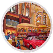 Downtown Montreal-streetcars-couple Near Red Fifties Mustang-montreal Vintage Street Scene Round Beach Towel