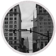 Downtown Nashville In Black And White Round Beach Towel by Dan Sproul