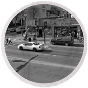 Downtown Nashville Legends Corner Round Beach Towel by Dan Sproul