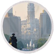 Downtown Philadelphia - Benjamin Franklin Parkway Round Beach Towel