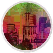 Downtown Seattle Cubed 1 Round Beach Towel