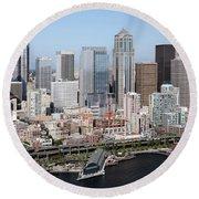Downtown Seattle Washington City Skyline Round Beach Towel