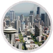 Downtown Skyline Of Seattle Round Beach Towel