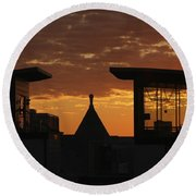 Downtown Sunrise Round Beach Towel