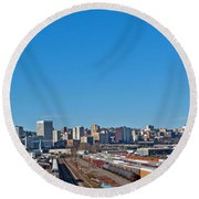 Downtown Tacoma View From The Rail Lines Round Beach Towel