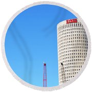 Downtown Tampa Photography - Leaning Tower Of Sykes - Sharon Cummings Round Beach Towel