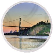 Downtown Vancouver And Lions Gate Bridge At Twilight Round Beach Towel by Eti Reid