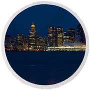 Downtown Vancouver At Night  Round Beach Towel