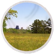 Downtown View Round Beach Towel
