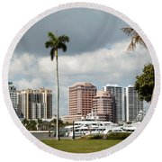 Downtown West Palm Beach Round Beach Towel