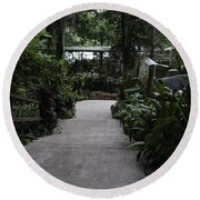 Downward Sloping Part Inside The National Orchid Garden In Singapore Round Beach Towel