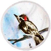 Downy Woodpecker Sumi-e Round Beach Towel