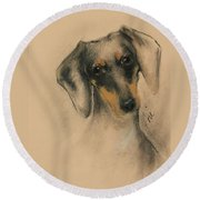 Doxie Round Beach Towel