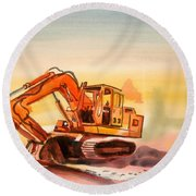 Dozer In Watercolor  Round Beach Towel