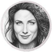 Dr. Lisa Cuddy - House Md Round Beach Towel by Olga Shvartsur