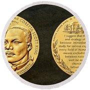 Dr Martin Luther King Jr And Coretta Scott King Bronze Medal Art Round Beach Towel