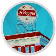Dr Pepper Sign Roanoke Virginia Round Beach Towel