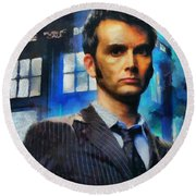 Dr Who Number 10  Round Beach Towel