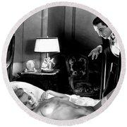 Dracula Bela Lugosi Fantasy Nude Round Beach Towel