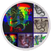 Dragon Collage Round Beach Towel