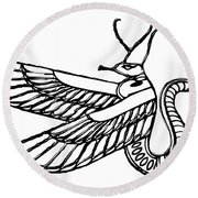 Dragon - Demon Of Ancient Egypt Round Beach Towel