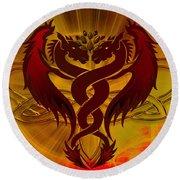 Dragon Duel Series 5 Round Beach Towel