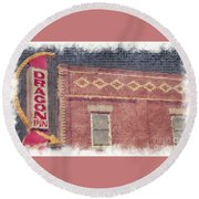 Dragon Inn Restaurant Sign Round Beach Towel