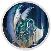 Dragon Lair With Stairs Round Beach Towel
