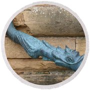 Dragon Waterspout  Chateau De Cormatin Round Beach Towel