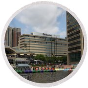 Dragonboats - Inner Harbor Baltimore Round Beach Towel