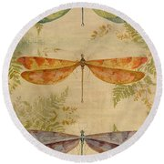 Dragonflies Among The Ferns-12415 Round Beach Towel