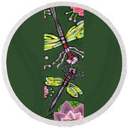 Dragonflies And Water Lilies Round Beach Towel