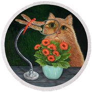 Dragonfly And Cat Round Beach Towel