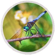 Dragonfly Art - A Thorny Situation Round Beach Towel