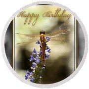 Dragonfly Birthday Card Round Beach Towel by Carolyn Marshall