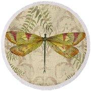 Dragonfly Daydreams-a Round Beach Towel